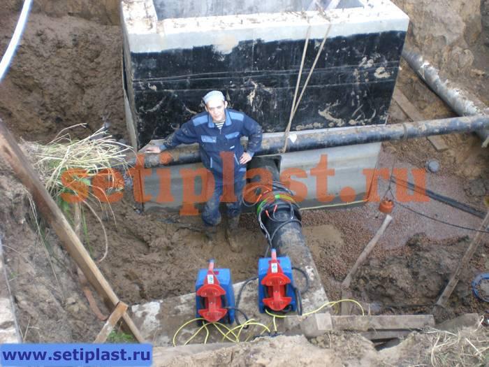 Сварка ПЭ муфты 315 мм в Рязани
