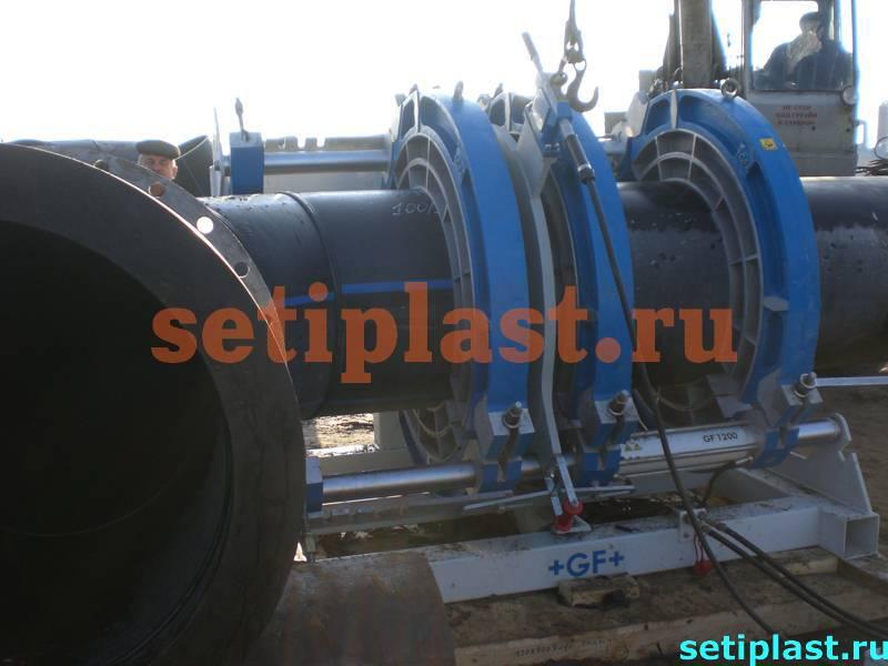 Приварка отвода ПЭ 1200 мм
