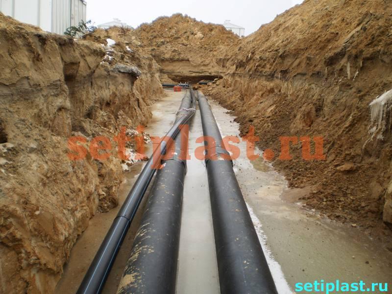 Водопровод ПНД и теплотрасса